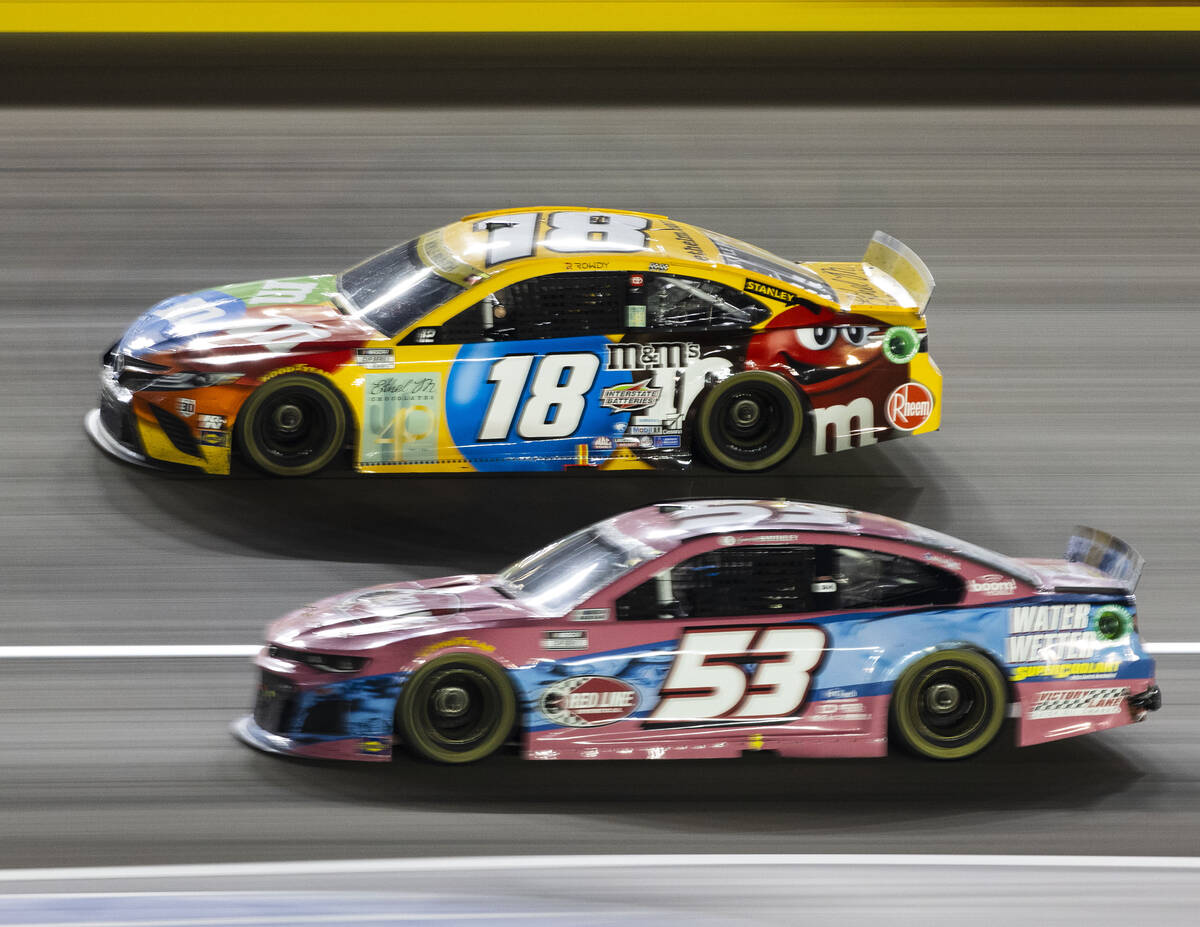 Kyle Busch (18) and Garrett Smithley (63) and Cody Ware (51) race during the 4th Annual South P ...