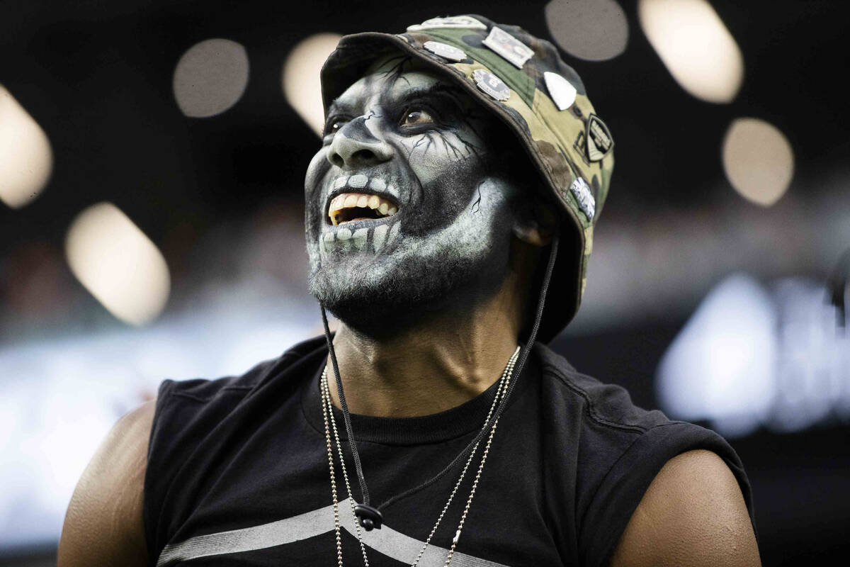 Raiders fans in the second half during an NFL football game against the Miami Dolphins on Sunda ...