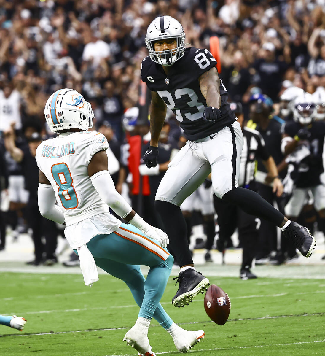 Las Vegas Raiders tight end Darren Waller (83) celebrates after a play against the Miami Dolphi ...