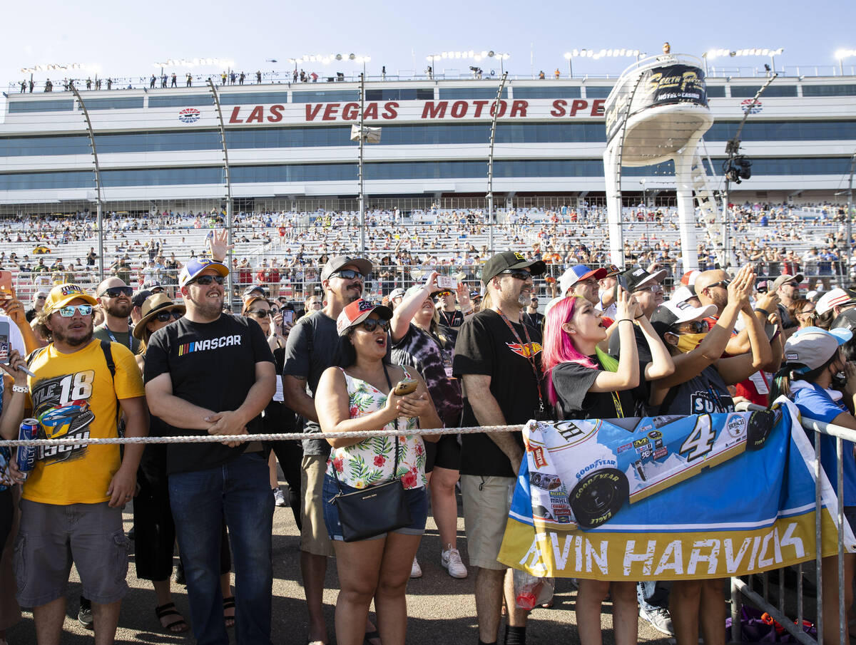 Fans cheer as drivers are introduced during the 4th Annual South Point 400 race at Las Vegas Mo ...