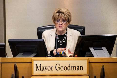 Las Vegas Mayor Carolyn Goodman speaks during a Las Vegas City Council meeting in Las Vegas on ...