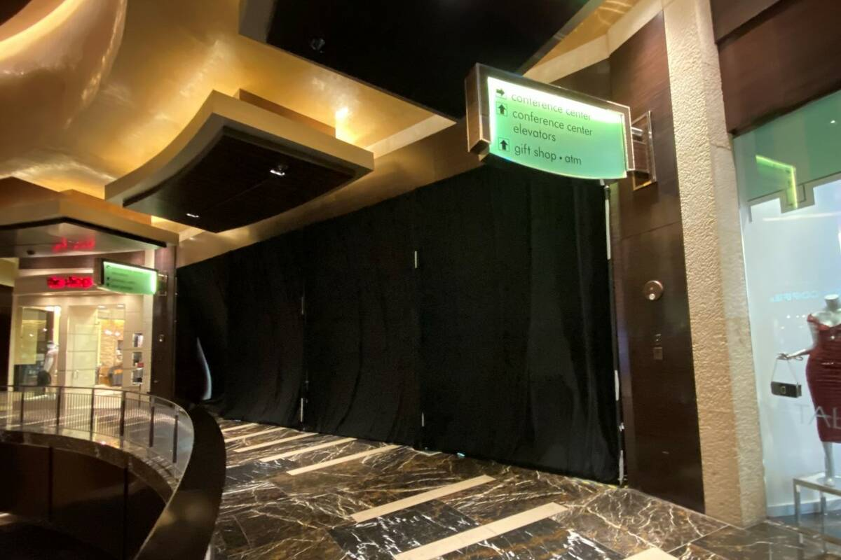 What's behind this drape? The curtained-off entrance to Red Rock Resort's convention area is sh ...