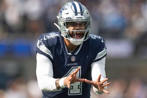 Dallas Cowboys quarterback Dak Prescott (4) during an NFL football game against the Los Angeles ...