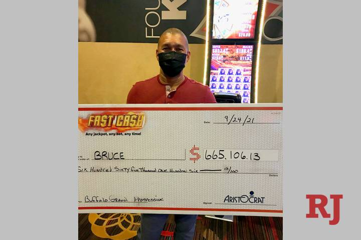 Bruce, a visitor from San Diego, won a $665,106 progressive jackpot on a $3.75 bet Friday, Sept ...