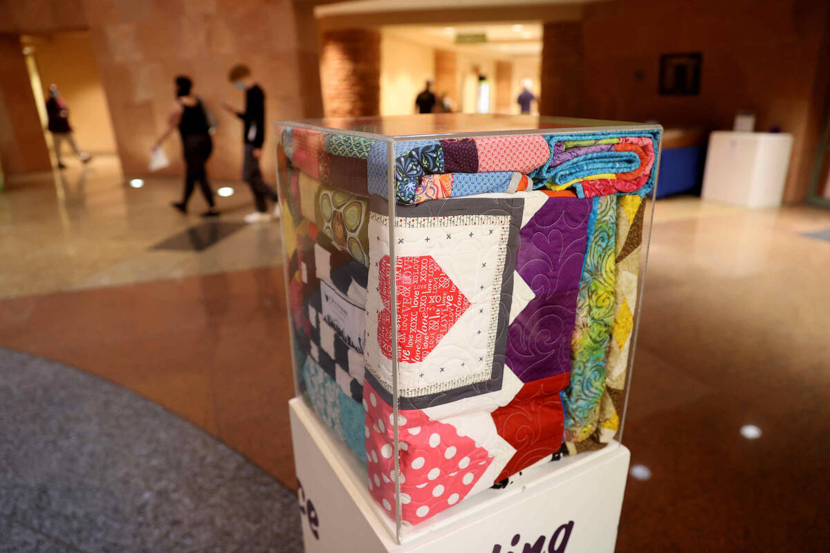 Quilts on display as part of the 1 October Anniversary Exhibit in the Rotunda of the Clark Coun ...