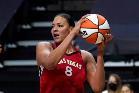 Liz Cambage, seen in May 2021. (AP Photo/Elaine Thompson)