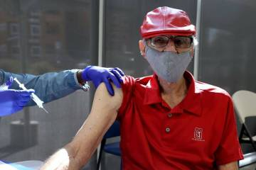 """Charles """"Buddy Charles"""" Wucinich, 84, of Las Vegas gets a Pfizer COVID-19 vaccine booster shot ..."""