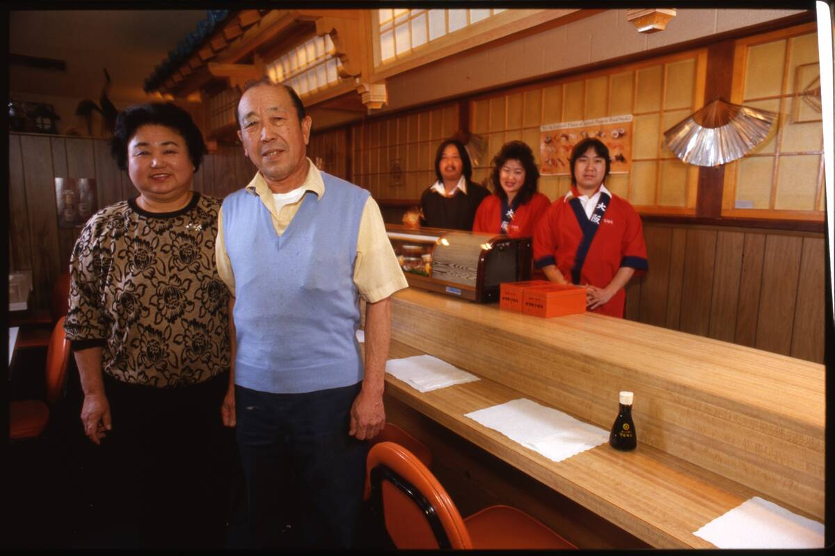 A 1987 photo of Aiko and Sam Nakanishi in their restaurant at 4205 W. Sahara Ave. In the backgr ...