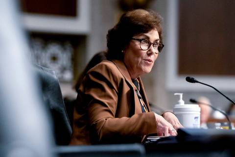 Sen. Jacky Rosen, D-Nev., speaks during a Senate Armed Services Committee hearing on the conclu ...