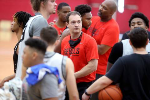 UNLV coach Kevin Kruger after practice at the Mendenhall Center in Las Vegas Wednesday, Sept. 2 ...
