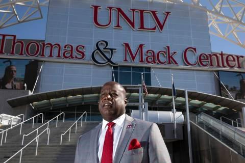 UNLV interim athletics director Erick Harper outside Thomas & Mack Center on Friday, Oct. 1 ...