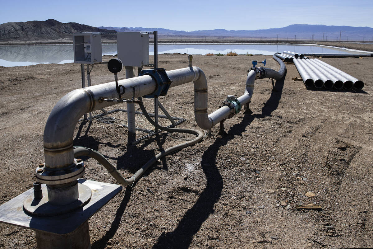 Water is pumped into an evaporation pond at Albemarle's lithium mine in Silver Peak, Nev., on T ...