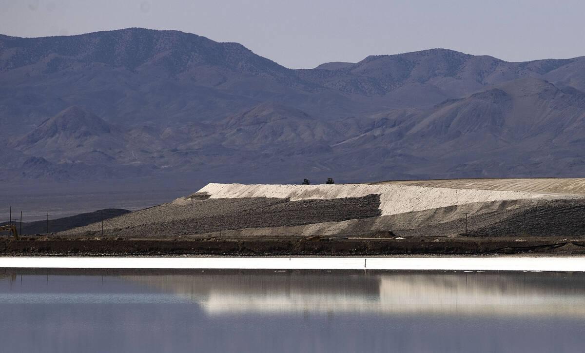 Stockpile of salt is seen next to a lithium brine evaporation pond at Albemarle's lithium mine ...