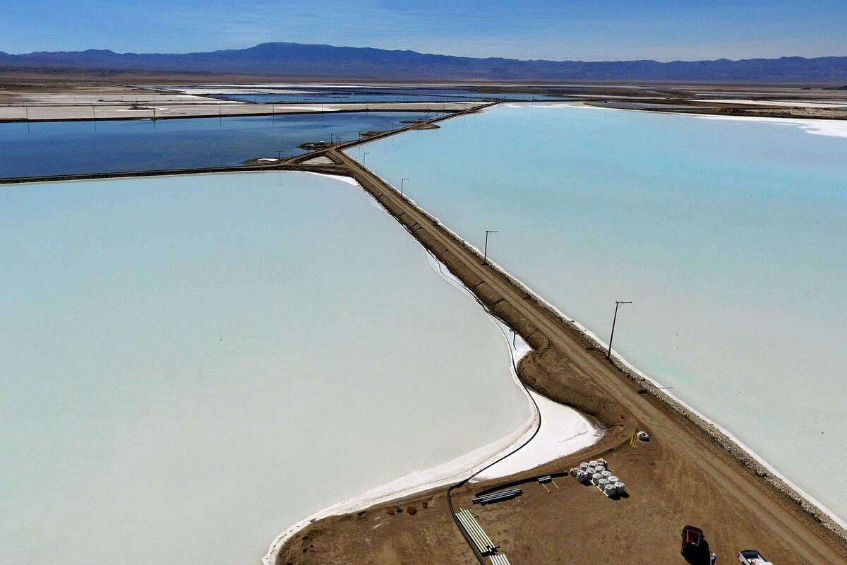 Lithium brine evaporation ponds at Albemarle's lithium mine in Silver Peak, Nev., are shown, on ...