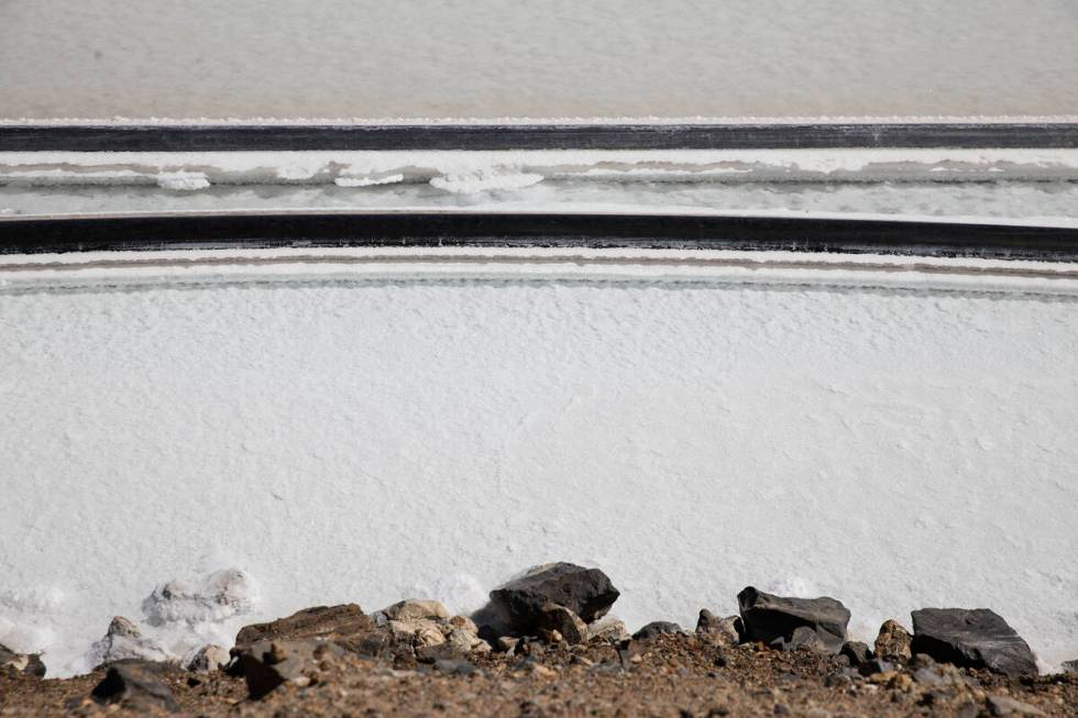 Lithium brine evaporation pond at Albemarle's lithium mine in Silver Peak, Nev., is shown, on T ...