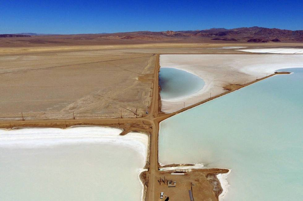 Lithium brine evaporation ponds at Albemarle's lithium mine in Silver Peak, Nev., is shown, on ...