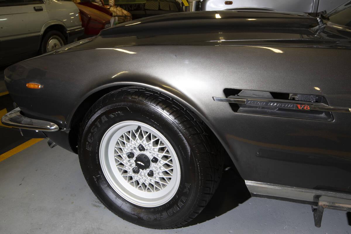 A James Bond film Aston Martin V8 Vantage is showcased at the Hollywood Cars Museum in Las Vega ...