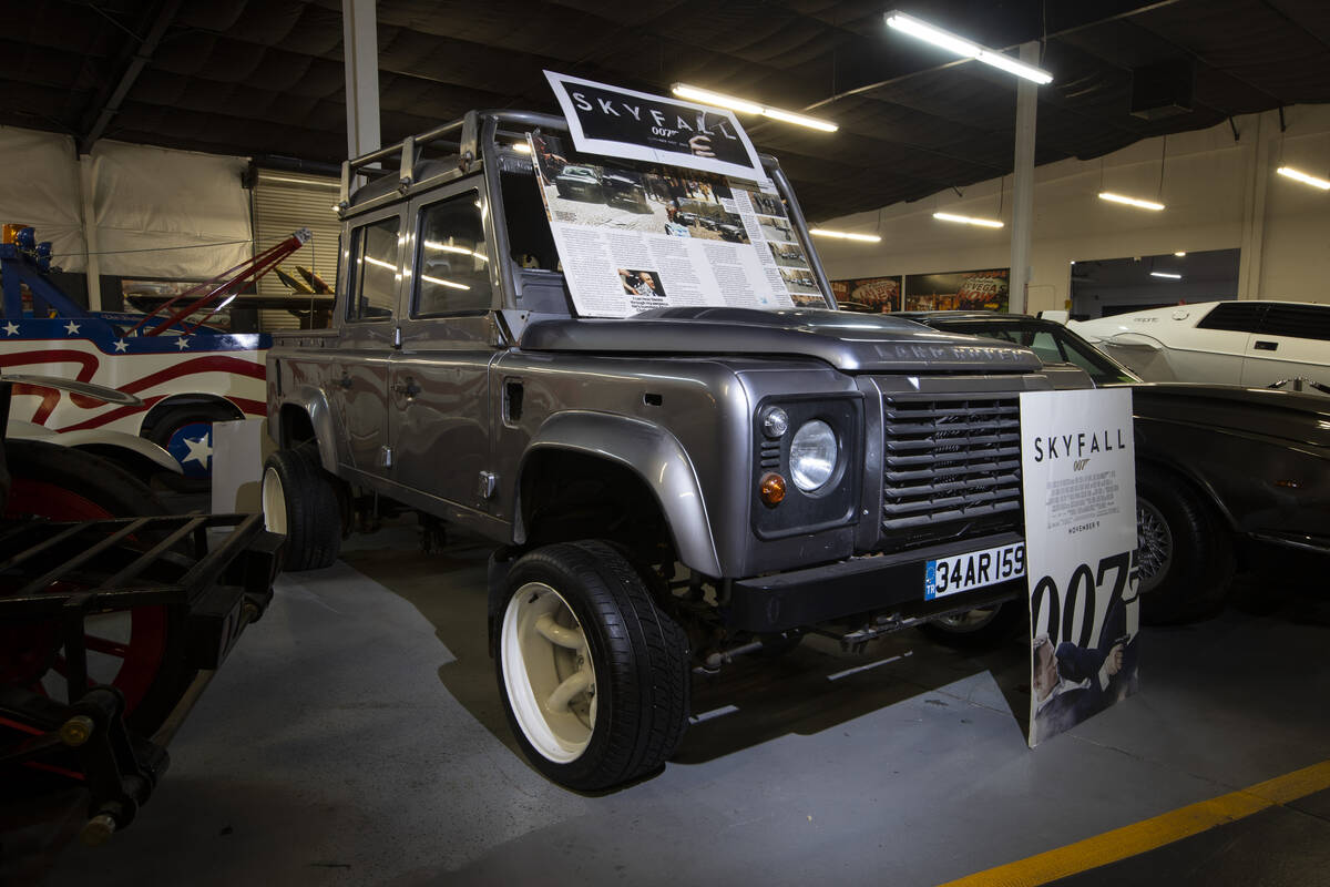 A James Bond Skyfall Land Rover Defender Crew Cab is showcased at the Hollywood Cars Museum in ...