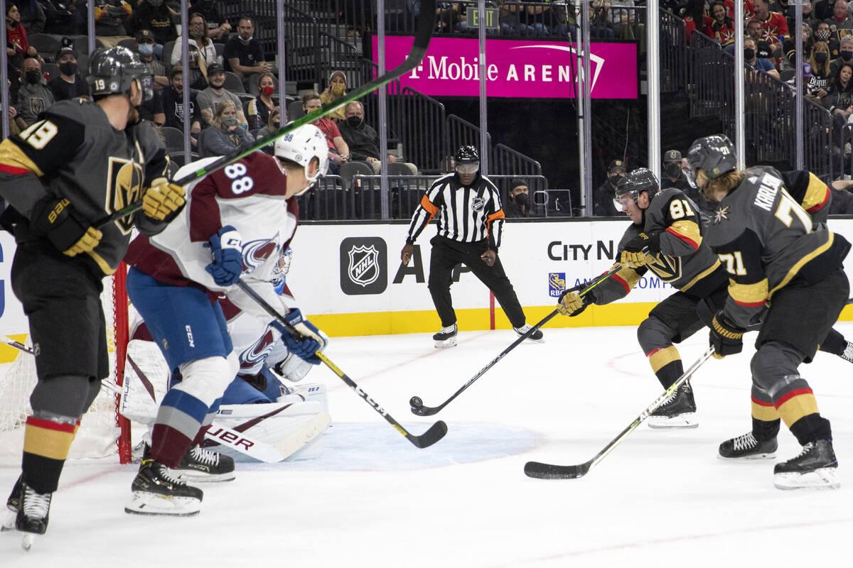 Golden Knights center Jonathan Marchessault (81) shoots to score a goal on Avalanche goaltender ...