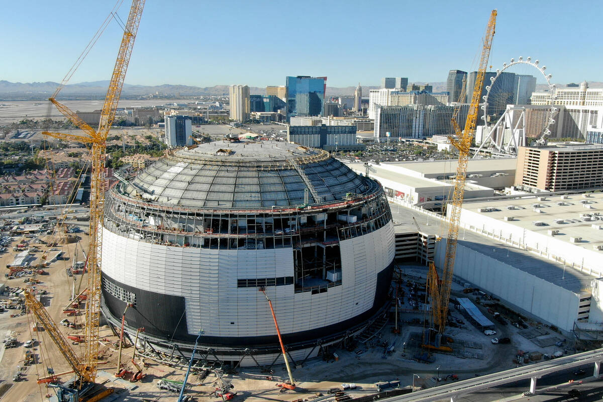 An aerial photo of the MSG Sphere at the Venetian as work continues on Thursday, September 30, ...