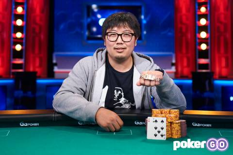 Long Ma after winning the $500 buy-in The Reunion No-limit Hold'em at the World Series of Poker ...