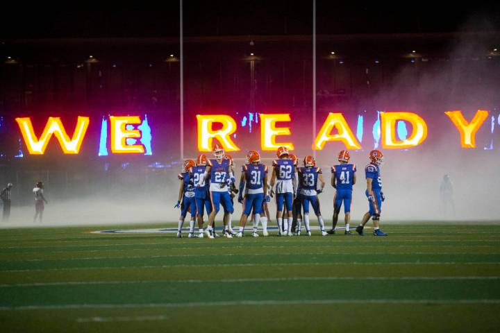 Bishop Gorman wait on the field for the start of their football game against Arbor View at Bish ...