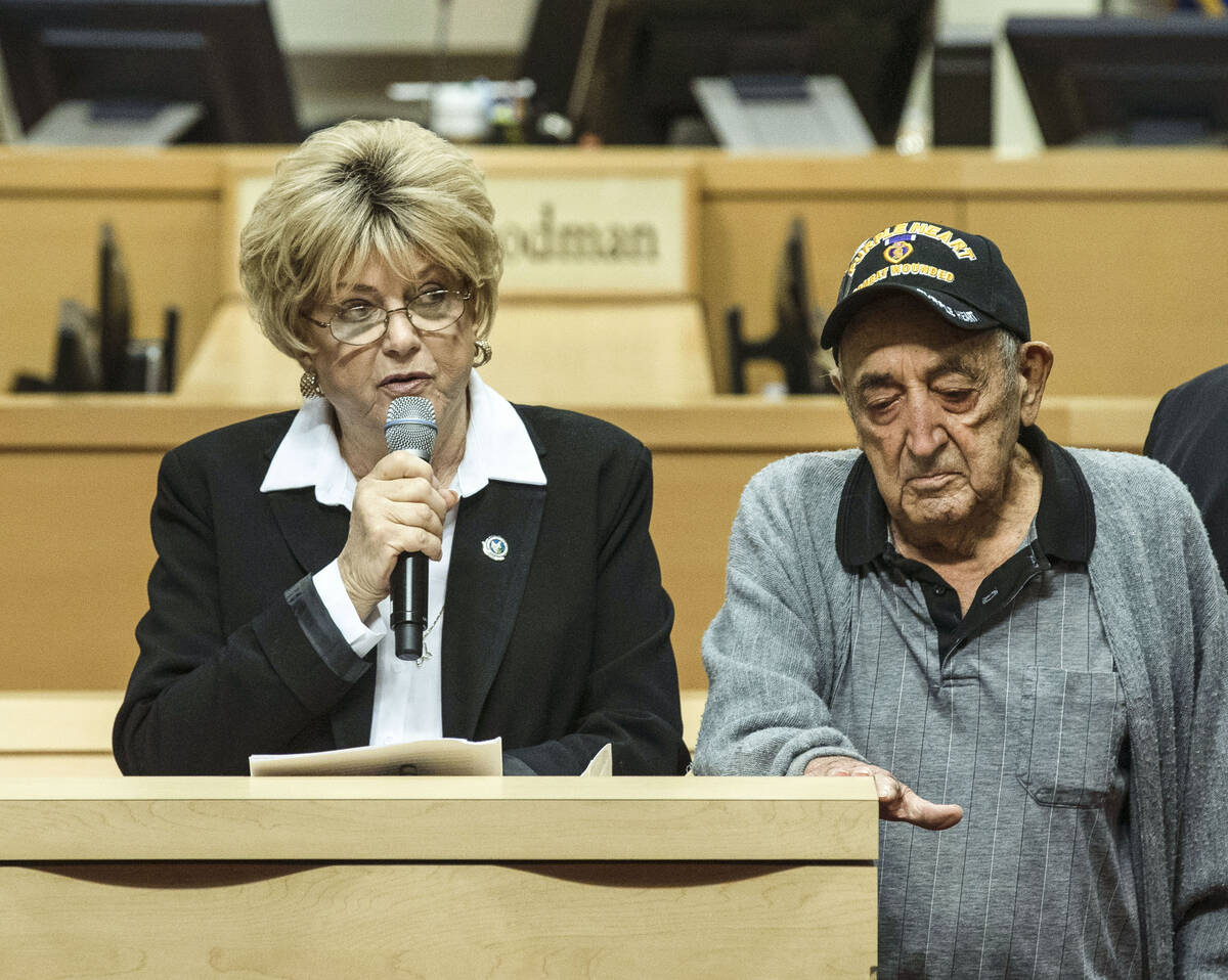 Mayor Carolyn Goodman speaks during a presentation of a Purple Heart to a 98-year-old World War ...