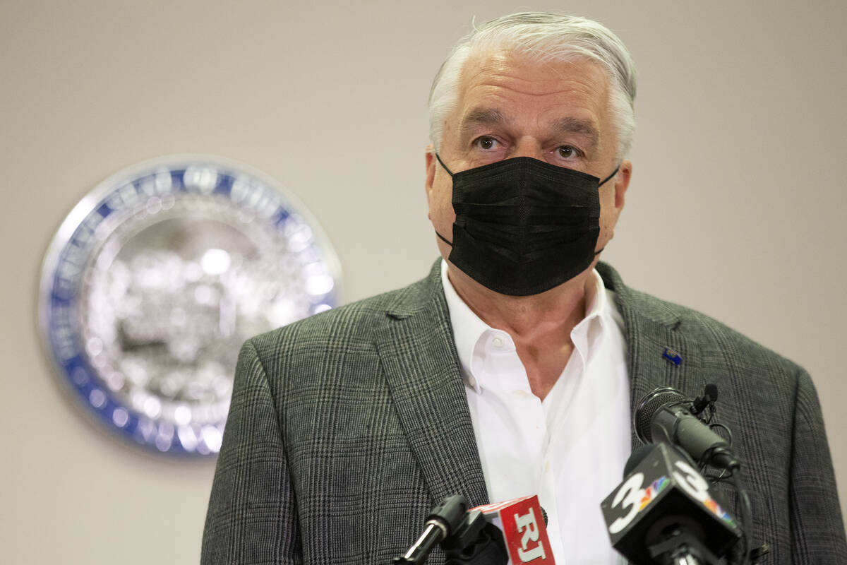 Gov. Steve Sisolak gives an update on Nevada's vaccination efforts at the Grant Sawyer State Of ...