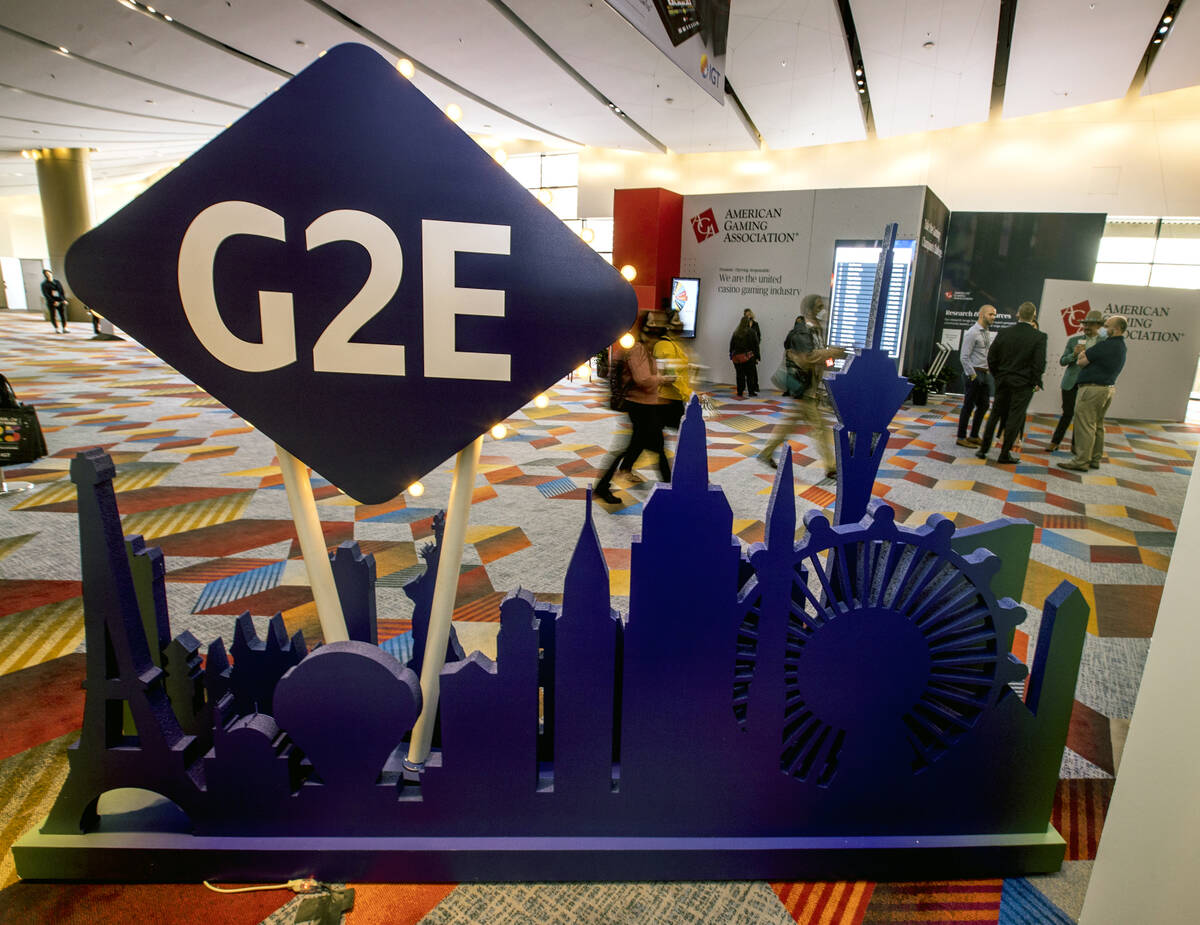 Attendees arrive during day 4 at the Global Gaming Expo 2021 conference in The Venetian Expo on ...