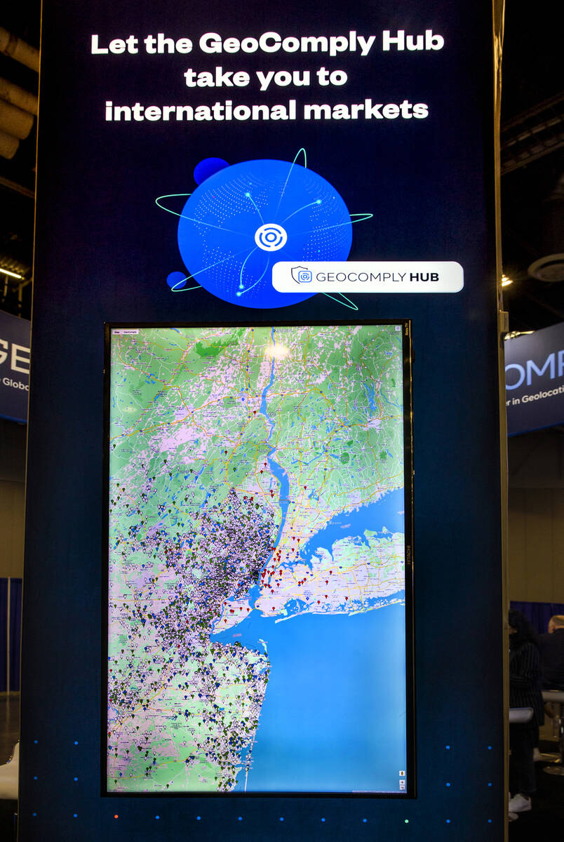 A Geocomply Solutions, Inc., interactive map shows markers for each system operator during day ...