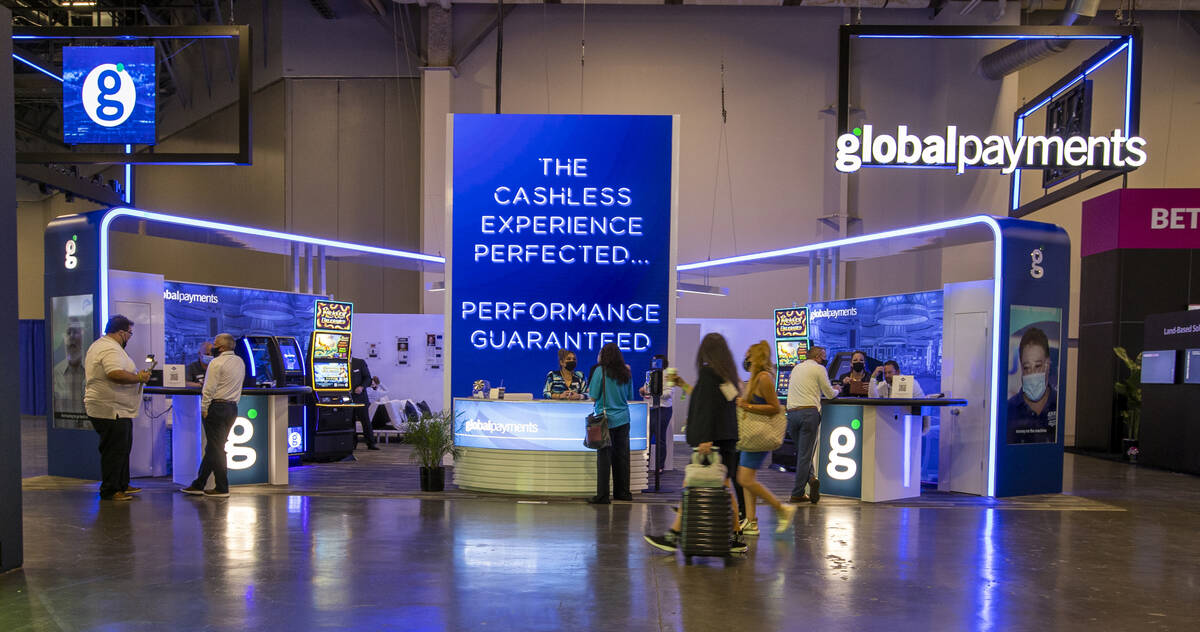 Global Payments welcomes attendees to their display area during day 4 at the Global Gaming Expo ...