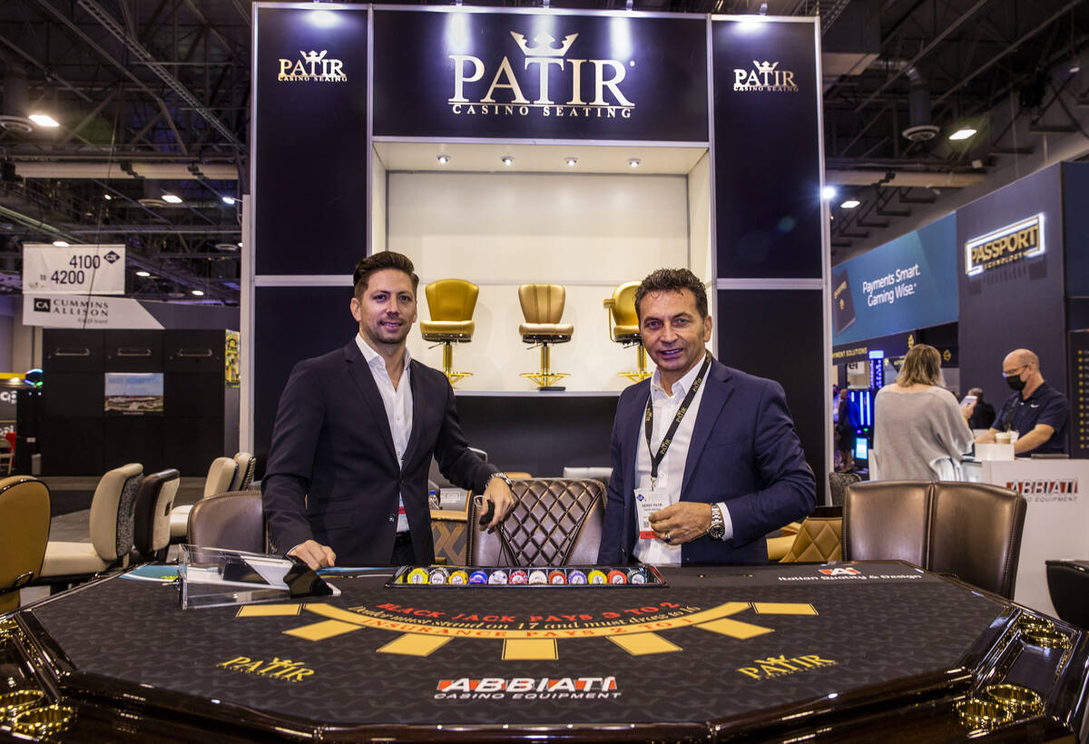 Dennys, left, and Seref Patir about their Patir Casino Seating display during day 4 at the Glob ...
