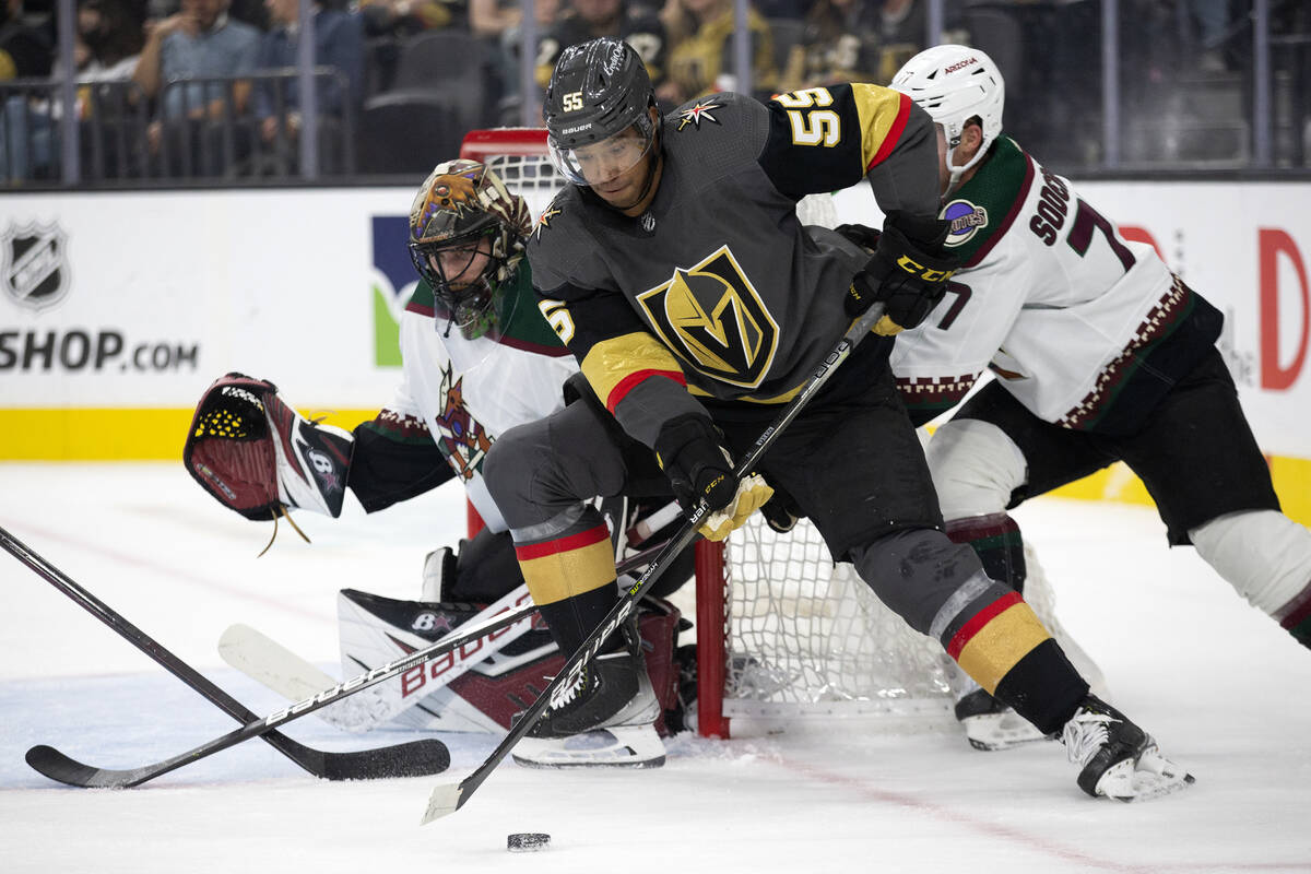 Golden Knights close    helping  Keegan Kolesar (55) attempts to people     a extremity   portion    Coyotes goaltender ...