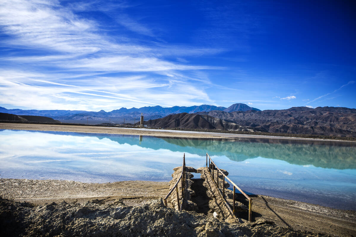 A lithium brining pond near Silver Peak, Nev. is seen on Friday, Nov. 21, 2015. (Las Vegas Rev ...