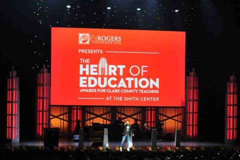Mark Shunock pumps up the audience during the Heart of Education Awards for Clark County Teache ...