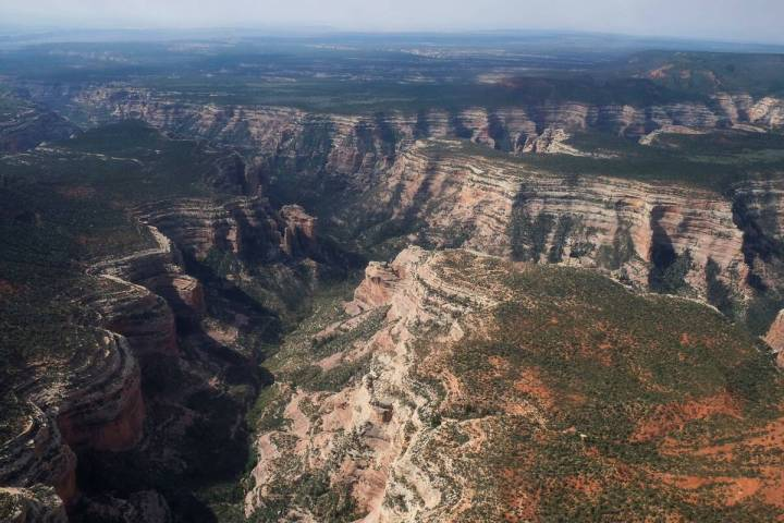 This aerial photo shows Arch Canyon within Bears Ears National Monument on May 8, 2017, in Utah ...