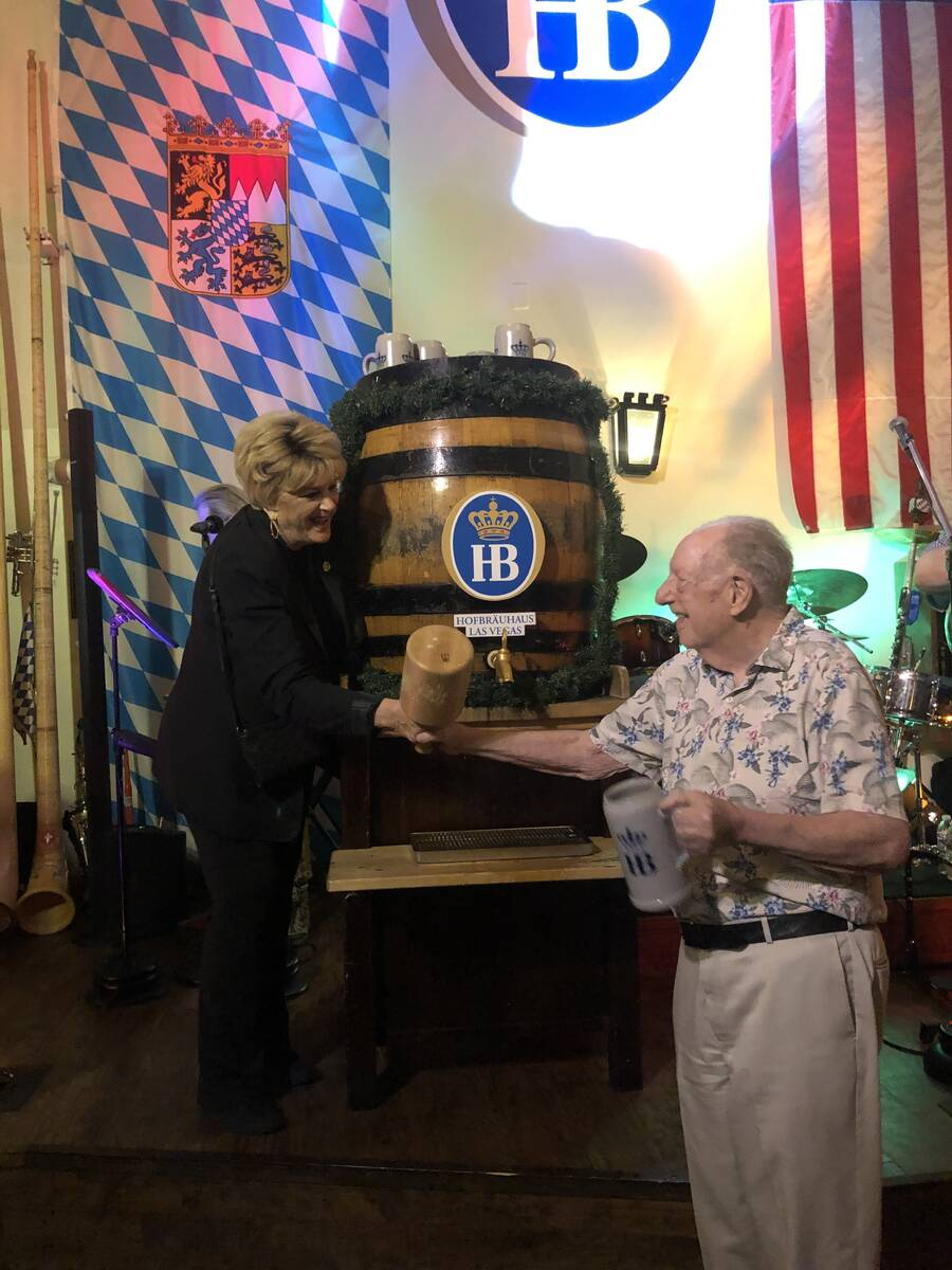 Las Vegas Mayor Carolyn Goodman and Oscar Goodman tap the keg to kick off Oktoberfest at Hofbra ...