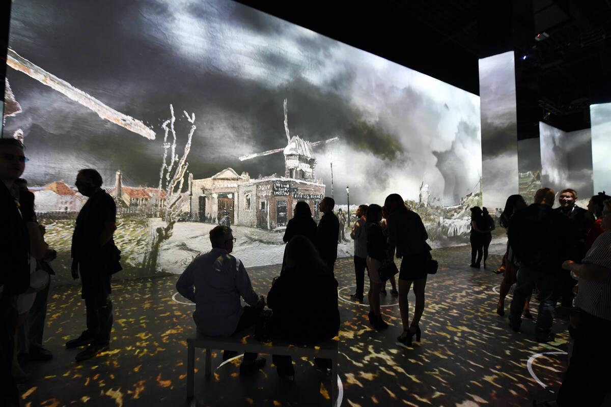 "Guests attend ""The Original Immersive Van Gogh Exhibit Las Vegas"" at Lighthouse Las Vegas at th ..."