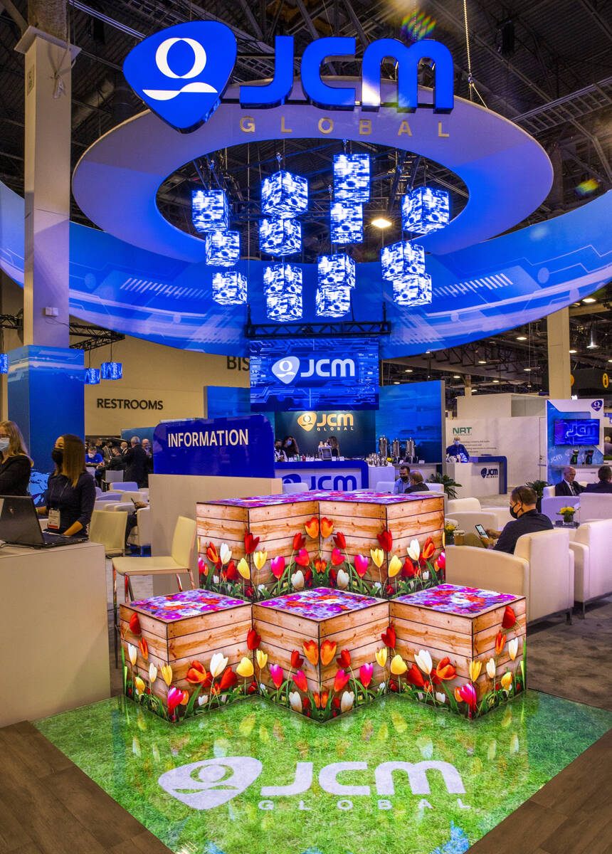The JCM Global automated transaction solutions space is creatively lit during day 2 of the Glob ...