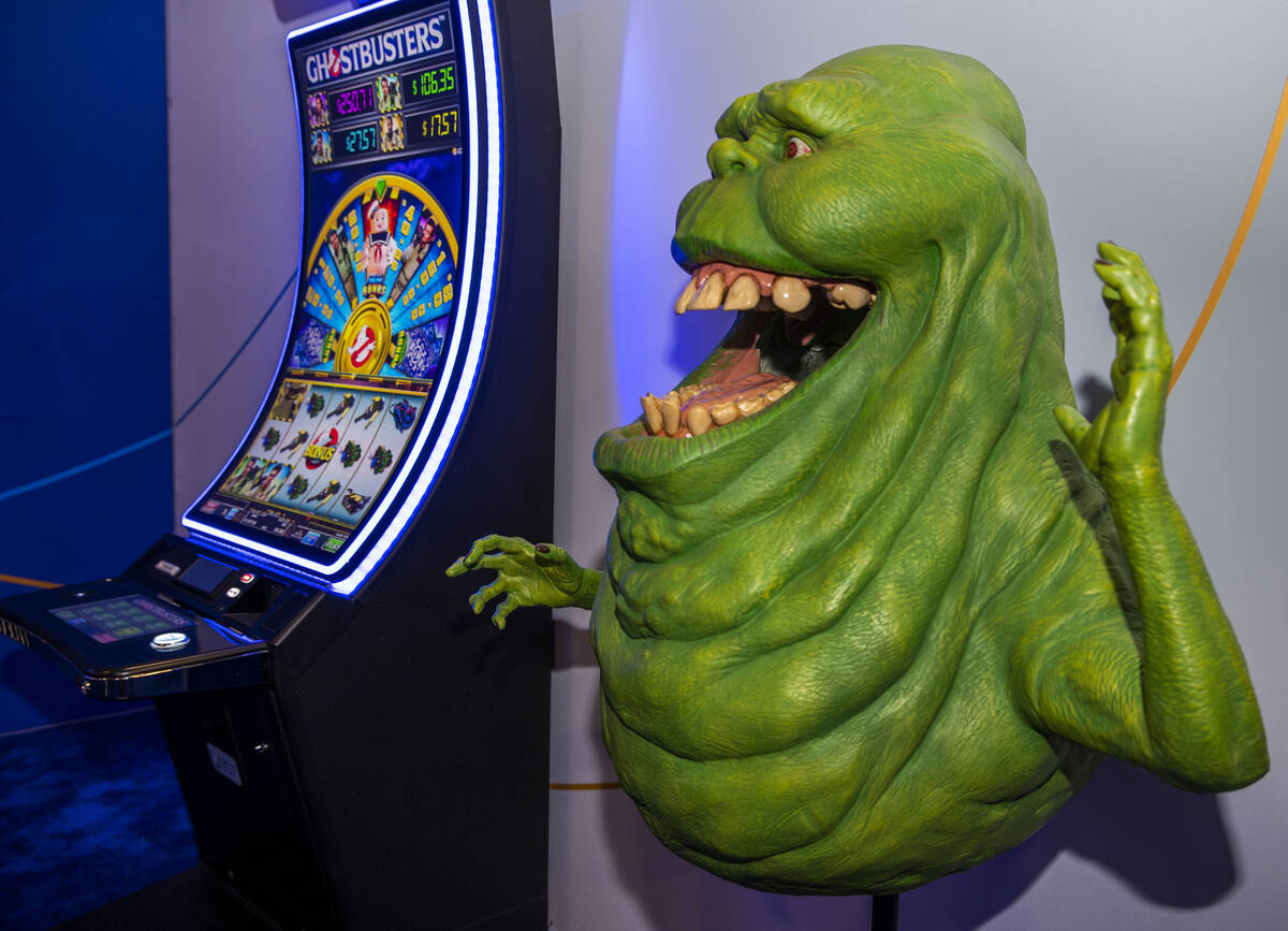 Slimer from Ghostbusters joins the related slot game in the IGT gaming space during day 3 at th ...