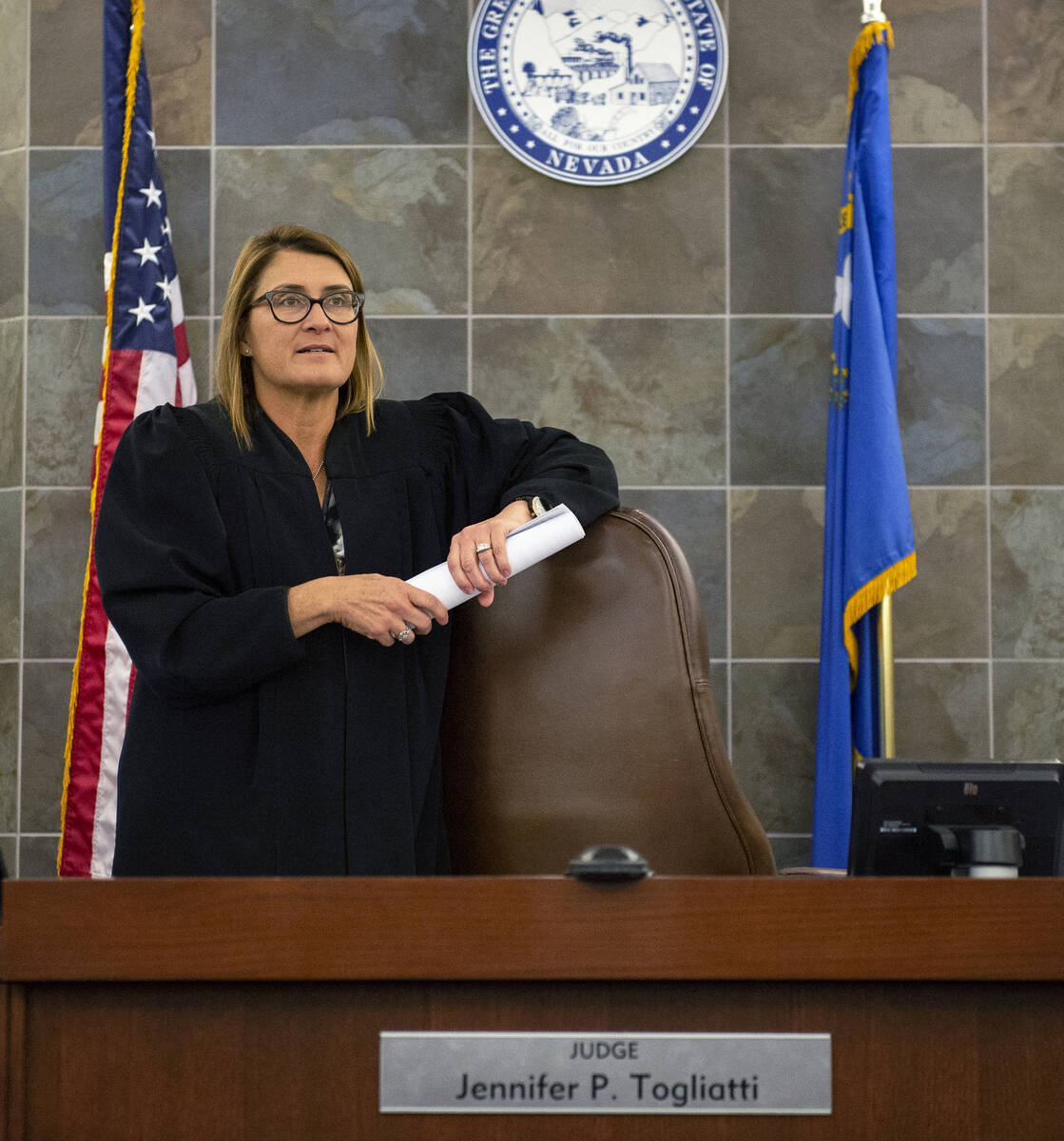 District Judge Jennifer Togliatti appears in her courtroom at the Regional Justice Center in La ...
