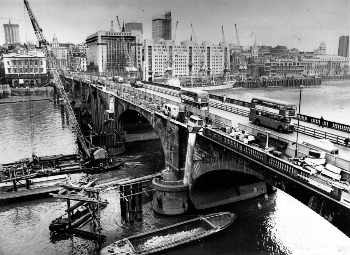 This is an April, 1968 photo of the London Bridge as it is being dismantled over the Thames riv ...