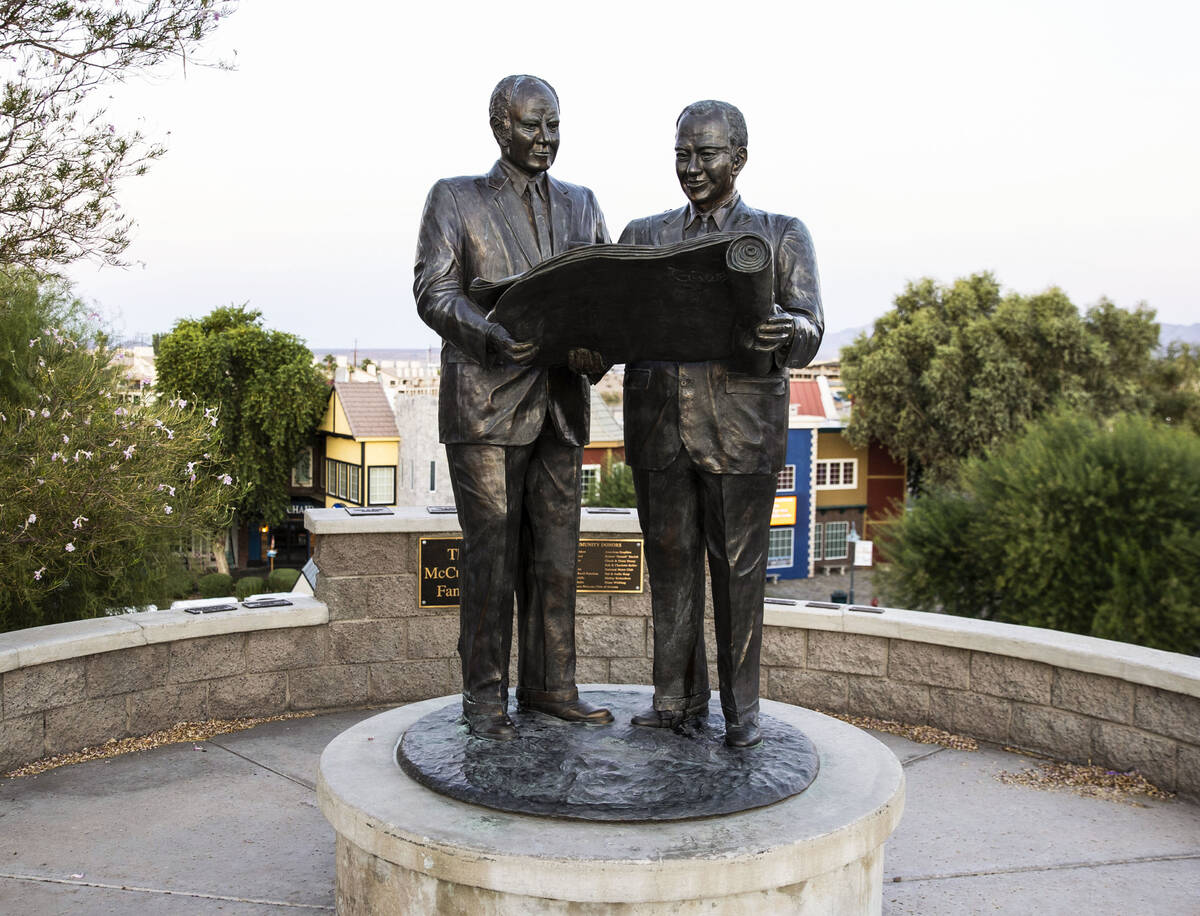 Statue of Lake Havasu City founders Robert P. McCulloch and C.V. Wood Jr., which is located nea ...
