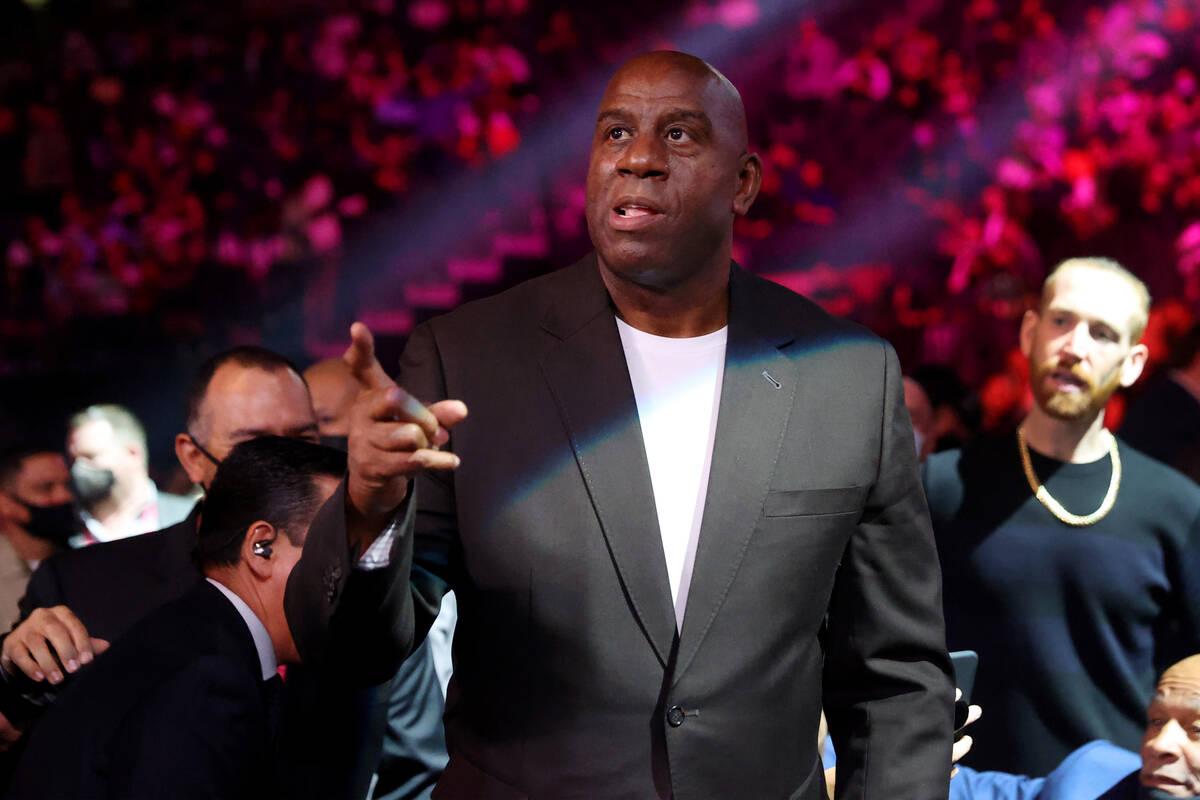 Magic Johnson attends a boxing event at T-Mobile Arena in Las Vegas, Saturday, Oct. 9, 2021. (E ...