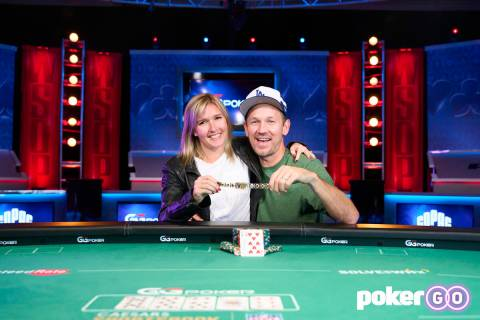 John Monnette with his wife, Diana, after winning the $10,000 buy-in Limit Hold'em Championship ...