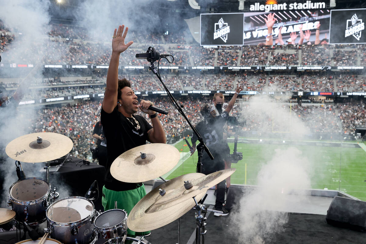 Ludacris performs during halftime as the Raiders take on the Chicago Bears at Allegiant Stadium ...
