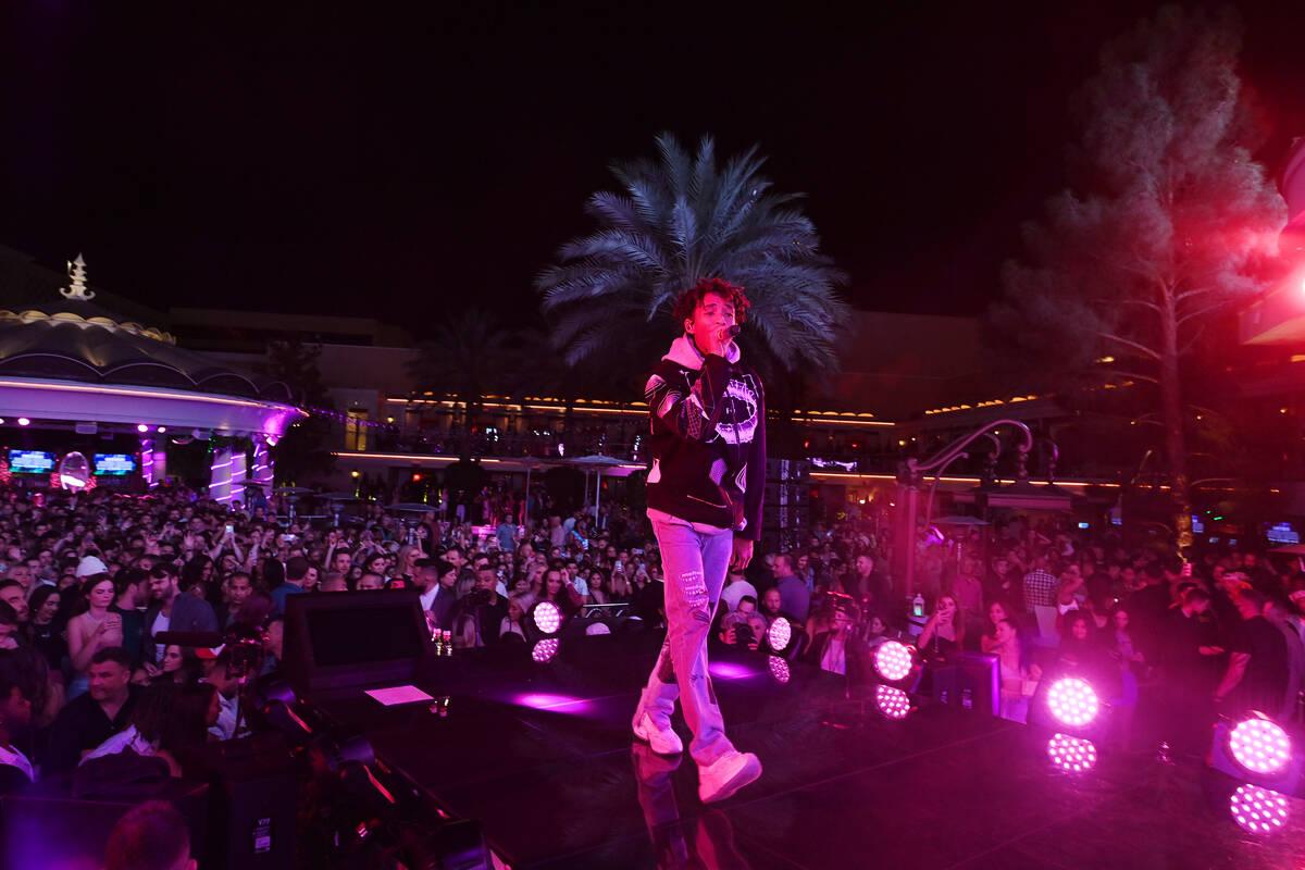 Jaden Smith performs at XS Nightclub inside Wynn Las Vegas as part of Justin Bieber Y Friends, ...