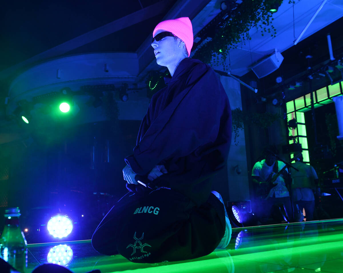 "Pop superstar Justin Bieber performs at XS Nightclub at Wynn Las Vegas on Oct. 9 as part of ""Ju ..."