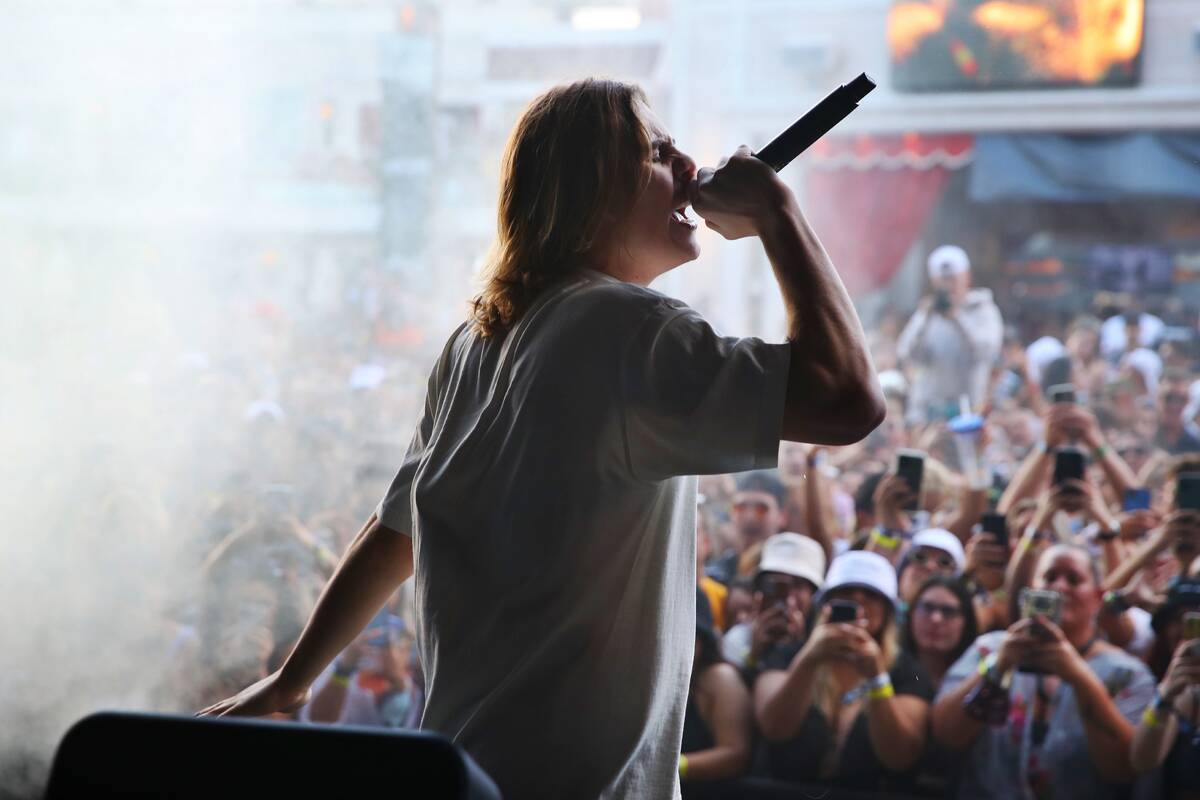 "The Kid Laroi performs at XS Nightclub at Wynn Las Vegas on Oct. 9 as part of ""Justin Bieber & ..."