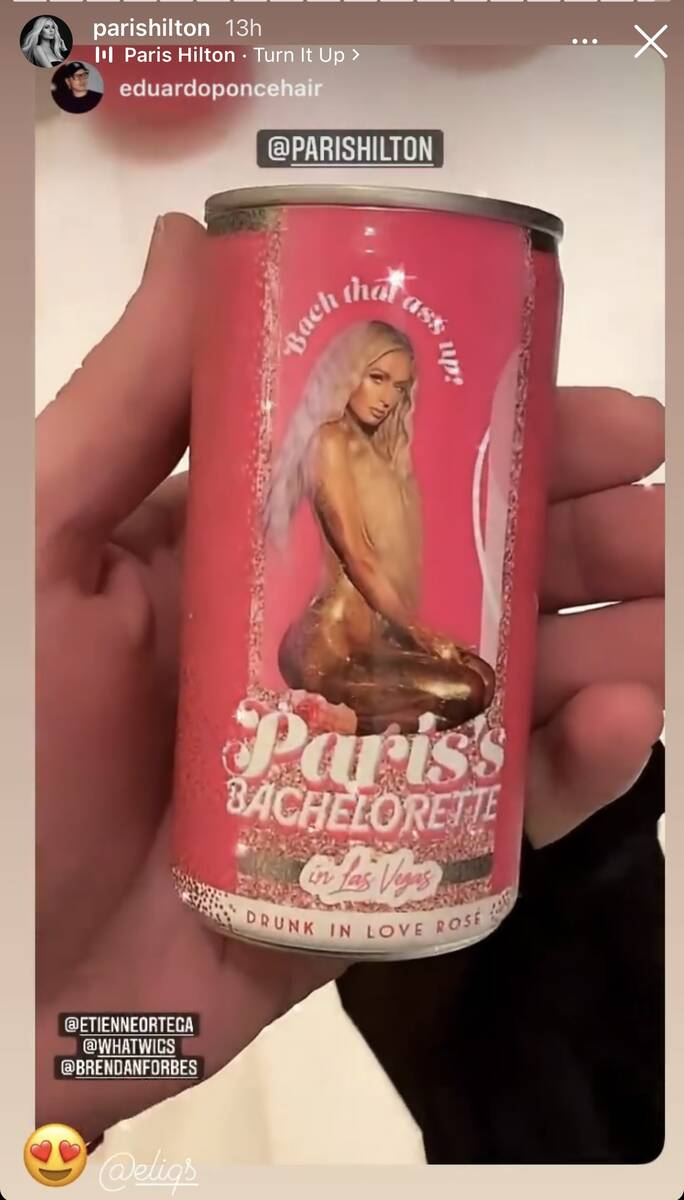 A canned cocktail is shown at the Paris Hilton-Carter Reum dual bachelor/bachelorette party in ...